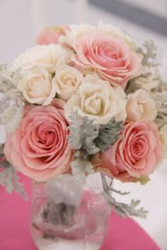 Roses, Dusty Miller @Erin Scott  pinks and grey?