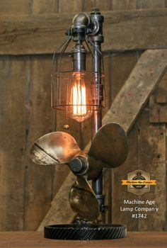 Steampunk Industrial Boat Marine Nautical Antique Brass Propeller Lamp, Gear Base #1742 #Lamps