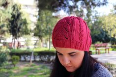 Women's knit hat, cable knit hat, lace hand knit hat by AlkistiKnits