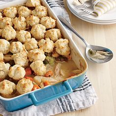 Drop Biscuit Chicken Potpie - Buttery buttermilk biscuits make this family-style fave irresistible, and they couldn't be simpler to prepare, even for biscuit novices. MyRecipes