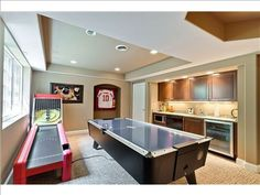 What kid wouldn't love to have skee ball in their game room? Teen Game Rooms, Video Game Rooms, Game Room Basement, Basement Ideas, Playroom, Gameroom Ideas, Skee Ball, House Games, Entertainment Center Decor