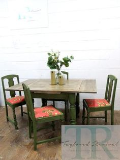 Commissioned Bespoke Dining Suite in Antibes Green with natural rustic top