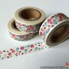 New to SandraArtStudio on Etsy: Washi tape with flowers floral washi printed paper tape embellishment craft tape (2.50 EUR)