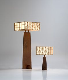 Asanoha Lamp | George Nakashima  Beautiful. Sleek, sharp edges, gentle curves, square patterned shades, wood. Love these lamps!