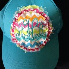 Rag patch hat Monogrammed hat Embroidered hat by AllieMaries, $15.00