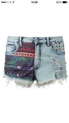 Aztec pattern denim shorts