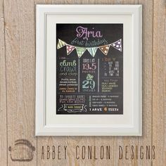 First birthday chalkboard poster - Already planning for her first birthday and this is the first thing I want to have there!