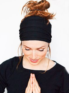 Namaste Black Headband  Wide Headband Yoga by MinitaStudio on Etsy