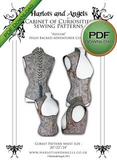 Asylum Steampunk real Corset Sewing Pattern. SIZE SMALL Instant download Pdf