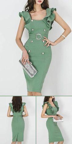 Bodycon dress with sleeves - Stylish Sashes Button Puff Sleeve Bodycon Dress Stylish Dresses, Simple Dresses, Elegant Dresses, Pretty Dresses, Casual Dresses, Fashion Dresses, Bodycon Dress With Sleeves, Dresses With Sleeves, Chic Dress