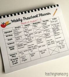 blank preschool weekly lesson plan template       my printable     Printable Preschool Planner   On Sale Now
