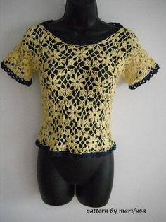 hand crochet flower blouse top size M