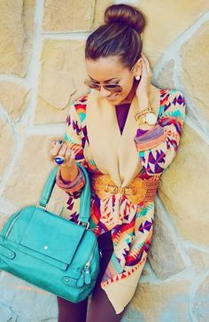 Colorful Belted Cardigan With Mint Handbag