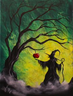 Halloween Paintings On Canvas New Enchanted Apple Step by Step Acrylic Painting On Canvas Halloween Canvas Paintings, Fall Canvas Painting, Witch Painting, Halloween Painting, Autumn Painting, Autumn Art, Halloween Art, Canvas Art, Acrylic Canvas