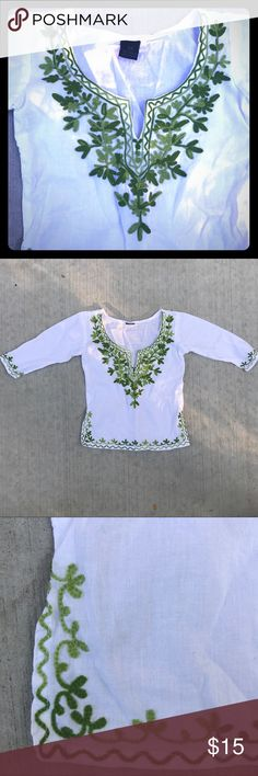 💕Beautiful embroidered tunic from India 💕 Gorgeous unique tunic hand-carried from India! Never worn, in new condition. Only imperfection is a small pull as shown in pictures. Beautiful piece for your little girl! Bundle & Save! Shirts & Tops Blouses