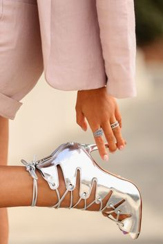 Silver Metallic Lace Up Sandals