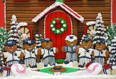 For a serious Yankees 'fan'!  Custom Gingerbread House from The Solvang Bakery.
