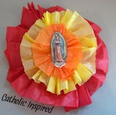 Our Lady Of Guadalupe Mexican Flower Craft - Catholic Inspired ~ Arts, Crafts, and Activities! Catholic Crafts, Catholic Kids, Church Crafts, Catholic Saints, Mexican Flowers, Mexican Christmas, Religious Art, Religious Education, Altar Decorations