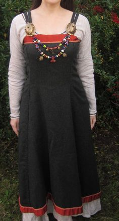 Hangeroc Wool Viking Apron Dress with Silk Trim - Custom Order. $150.00, via Etsy.