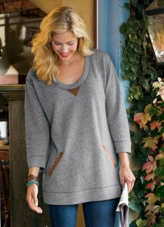 The Weekender from Soft Surroundings.  You're set for city errands or country getaways in this easy pullover, so cute and comfy in heathered French cotton terry knit with contrasting microsuede at the neckline and kangaroo pocket.  Get your rebate from RebateGiant.