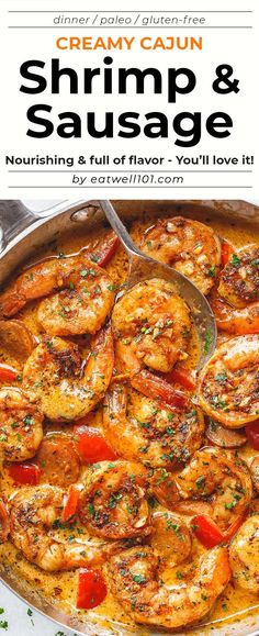 Creamy Cajun Shrimp with Sausage – Incredibly easy shrimp recipe packed with such amazing cajun flavor! This shrimp and sausage skillet is a healthy and delicious meal that is also great for … Sausage And Shrimp Recipes, Sausage Skillet Recipe, Cajun Shrimp Recipes, Cajun Sausage, Seafood Recipes, Cooking Recipes, Healthy Recipes, Health Shrimp Recipes, Easy Cajun Recipes