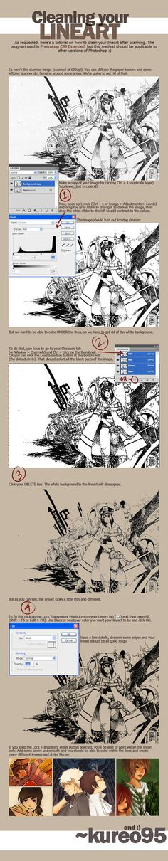 Tutorial - Cleaning Lineart by ~kureo95 on deviantART ✤ || CHARACTER DESIGN REFERENCES | キャラクターデザイン | çizgi film • Find more at https://www.facebook.com/CharacterDesignReferences http://www.pinterest.com/characterdesigh