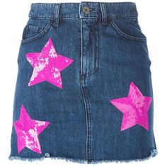 Au Jour Le Jour Sequinned Star Denim Skirt (6.238.085 IDR) ❤ liked on Polyvore featuring skirts, blue, blue sequin skirt, sequin skirt, au jour le jour, denim skirt and blue skirt
