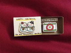 """Holiday Couple Camera Card / Matchbox """"Happy Holidays to an Amazing Couple""""/ Client Thank You Card / Wedding Photographer Christmas Card"""