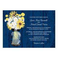 Rustic Blue Barn wood background with Mason Jar and wild daisies, Billy Ball Buttons and Sunflowers.
