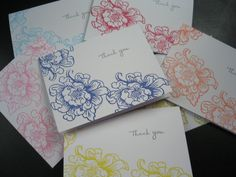 Hand Stamped Floral Thank You Note Cards Set of 7 by apaperaffaire