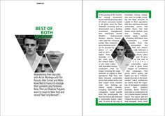 I think using the same picture for all four photo mods is a little bizarre although I like their geometric shape. Overall I think the design is lacking and the body text looks off because it's justified. Graphic Design Posters, Graphic Design Typography, Page Design, Book Design, Dissertation Layout, Business Cards Layout, Magazine Layout Design, Magazine Spreads, Newspaper Design
