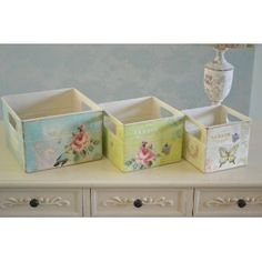 Shabby Vintage Chic Metal Storage Boxes
