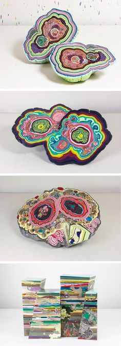 Geode-Like Sculptures Formed From Colorful Layers of Molten Beeswax