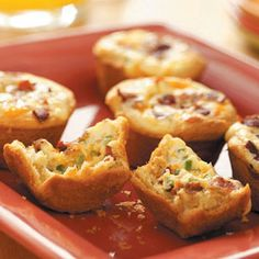 Bacon Quiche Tarts - I'll probably modify this, using biscuit dough for the tart shells, and increase proportions to make 12 tarts