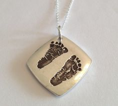 Double sided - Your Child's Actual Footprints or Hand Prints Stamped in Silver Jewelry, Curved Square Pendant- Made to Order