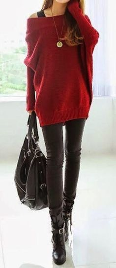 Oversized red sweater, black skinny jeans