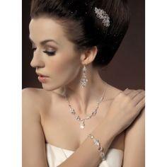 Parure Collier boucles d'oreilles Bracelet Diadème Mariée Cristaux -  Bijoux Mariage - Cérémonie Soirée Cocktail