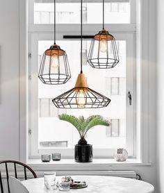 Sangkar Metal Cage Pendant Light With Wood Base. Scandinavian Styling Ceiling Light