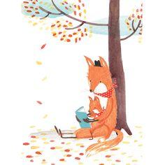 Leyendo padre e hijo. Foxes