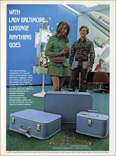 1972 Lady Baltimore Fashion Luggage ad featuring 21-year-old Kurt Russell  my mom had this same set