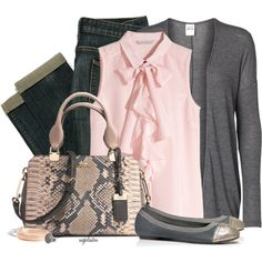 Pink and Grey for Fall, created by angkclaxton on Polyvore