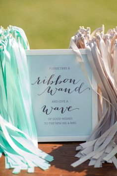 Ribbon wands for the send~off.. Read more - http://www.stylemepretty.com/2013/09/11/charlottesville-wedding-from-katelyn-james/
