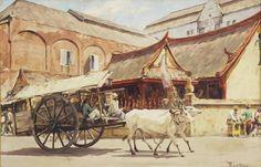 Willem van der Does - Een ossekar in Soerabaja Dutch Colonial, Horse Drawn, Hot Wheels Cars, Country Art, Surabaya, Ox, Diorama, Photo Art, Statue