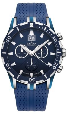 Edox Grand Ocean Chronograph Blue Dial Blue Rubber Mens Watch 10022-357B-BUIN