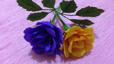 How to Make Rose Crepe Paper flowers - Flower Making of Crepe Paper - Pa...