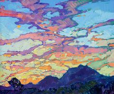Small oil painting of a colorful dramatic sky in the style of modern impressionism.