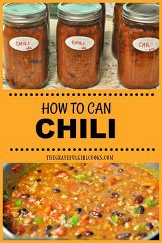 Learn how to can chili (meat and beans) using safe pressure canning guidelines. of old-fashioned chili, for long term storage./ The Grateful Girl Cooks! Chili Canning Recipe, Canning Soup Recipes, Canning Beans, Easy Canning, Canning Tips, Cooking Recipes, Canning Salsa, Chili Recipes, Canning Kitchen Ideas