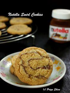 Eggless Nutella Swirl Cookies- cookies for nutella lovers! #nutella #cookies