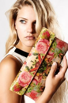 Leather Clutch bag - decoupage Roses