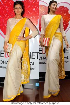 Bollywood Actress Jacqueline Fernandez Net Saree in Cream and Yellow color